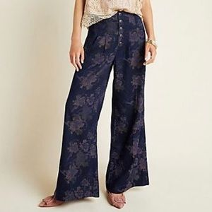 Anthropologie Pilcro Jacquard Wide Leg Pants